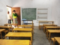 The new colored school desks, August 2014|Schoolbankjes in de nieuwe kleur, augustus 2014