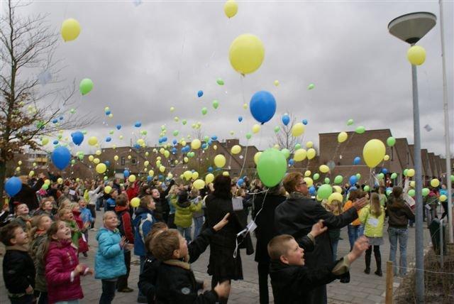 Start van de ballonnenwedstrijd: welke ballon komt het dichtst bij India?